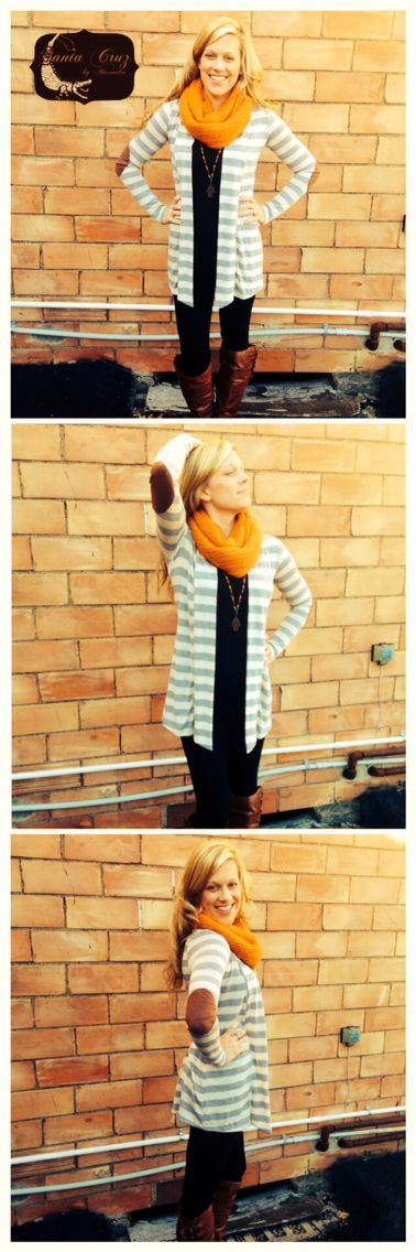 Stripped Cardigan w/ patched elbows... Perfect with Black Cami & Black leggings.  - Santa Cruz by Alexandra Boutique.