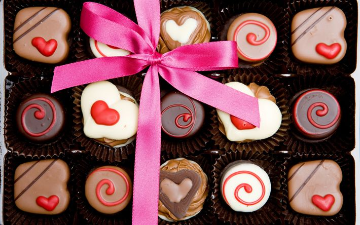 Download wallpapers chocolate sweets, gift, Valentines Day, pink silk bow, sweets, romance