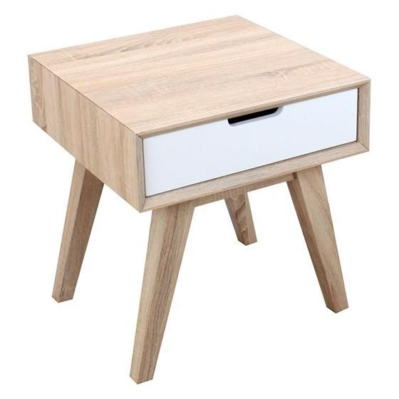 Wooden side table in natural/ white color www.inart.com