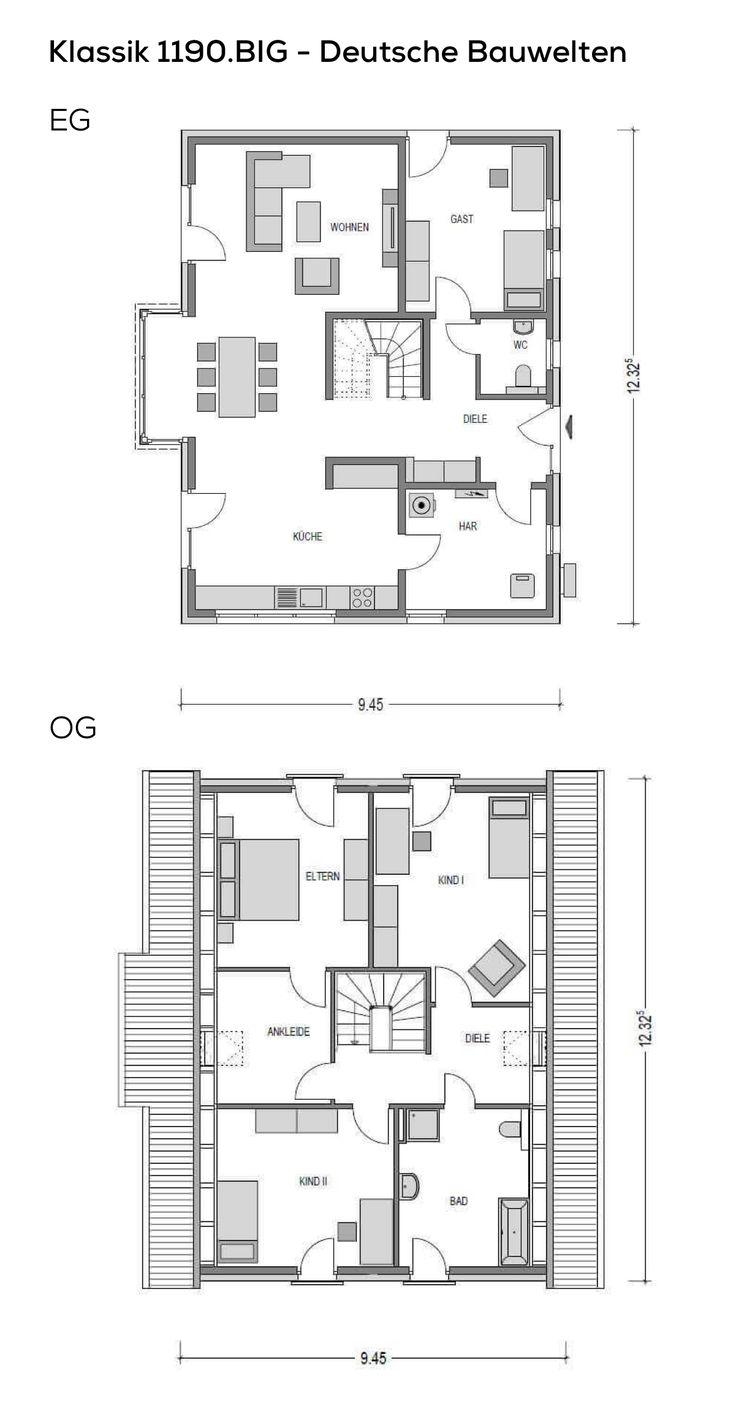 Einfamilienhaus Grundriss schmal mit Satteldach