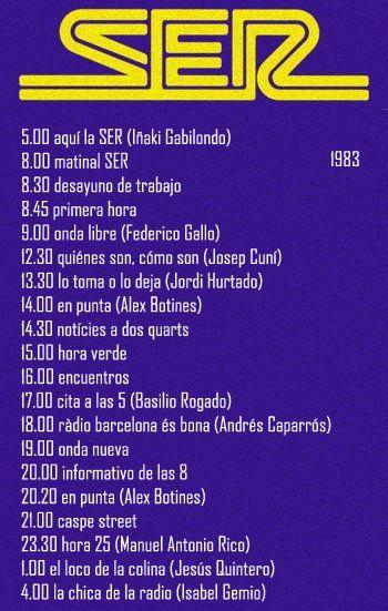 EL RADIOESCUCHANTE @LaRADIOenTUITER Esta era la programación de la Cadena Ser en el año 1983. Incluye la programación local de Radio Barcelona.