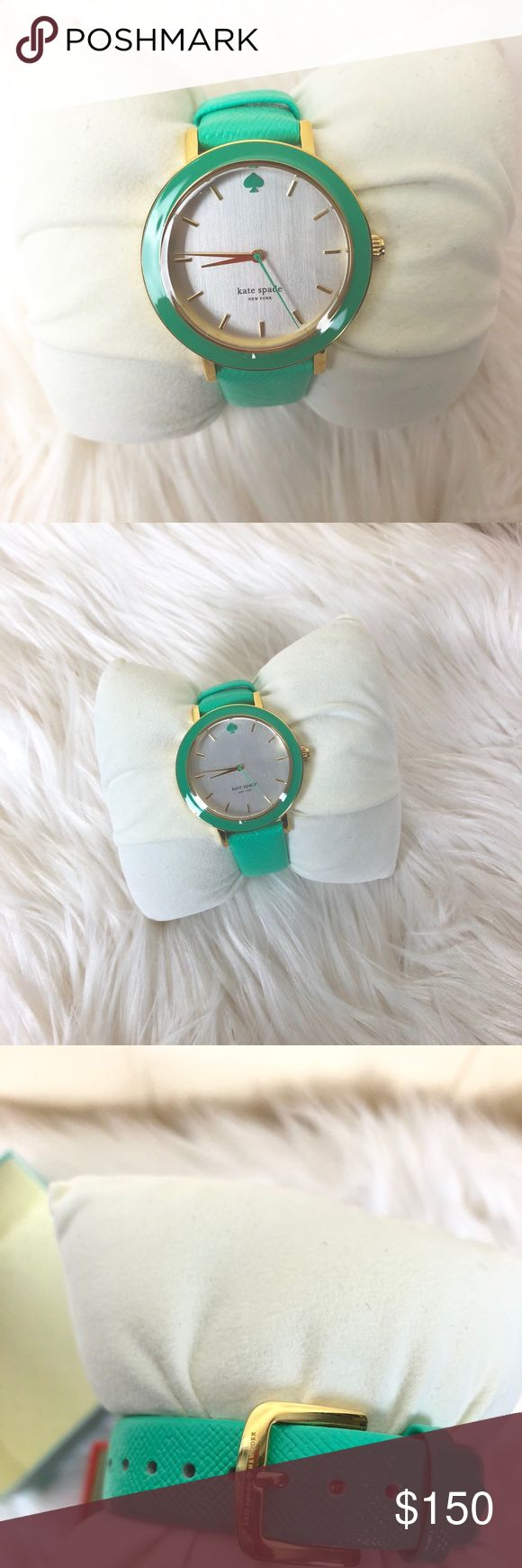 Kate Spade Women's Green and Gold Watch New in Box Brand new, plastic is still on watch face. Beautiful pistachio green color. kate spade Accessories Watches