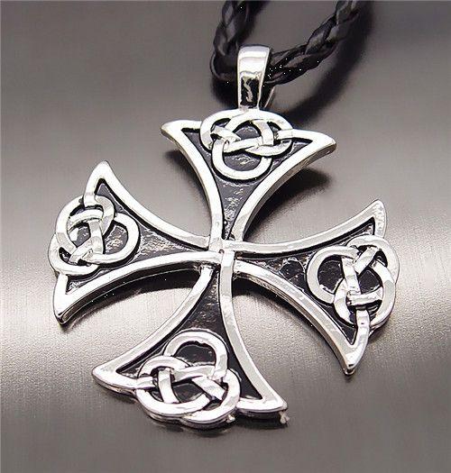 фото Кельтский крест равнолучевой, Кулон-подвеска на плетеном кожаном шнурке мир необычных вещей