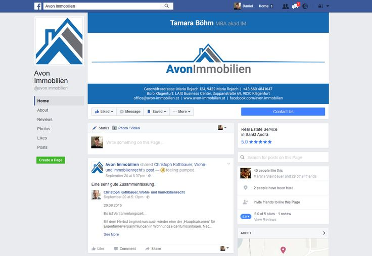 Facebook Page Design (Avon Immobilien GmbH, www.avon-immobilien.at)