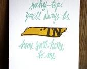 Rocky Top Tennessee-Letterpress Print