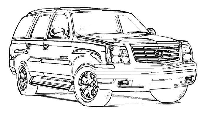 exotic supercar escalade cars coloring page