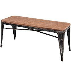 Merax Stylish Distressed Dining Table Bench with Wood Seat Panel and Metal Legs, Golden Black