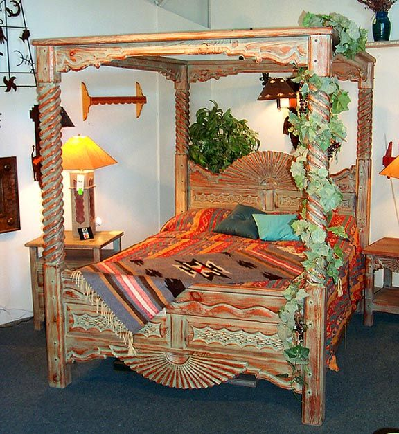 Turquoise Southwest Style Canopy Bed