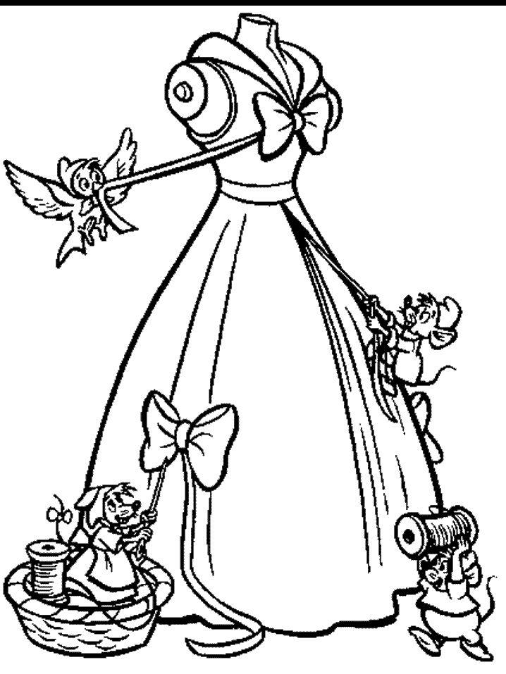 Cinderella Party Clothes Disney Coloring
