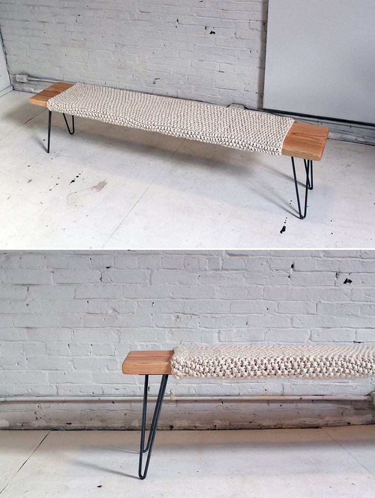 If you've ever thought about combining your passion for knitting and woodworking—we're here to encourage you to join your forces. 'Cause even though they may seem like polar opposites in the DIY world, together they can yield some amazing results, like this minimalistic wool and wood bench. Not only does it look like something straight out of Pottery Barn, but thanks to the comfy knitted cushion, you'll actually want to sit on it! And trust us: all the elbow grease is worth it—you can make t...