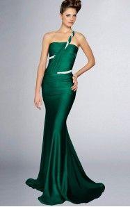 Mermaid Floor-length One Shoulder Dark Green Dress