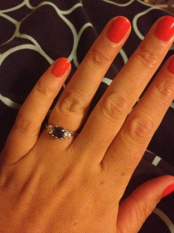 A cushion cut sapphire and diamond engagement ring: she said yes! Sky with Diamonds Jewellery Melbourne Australia – Sky with Diamonds