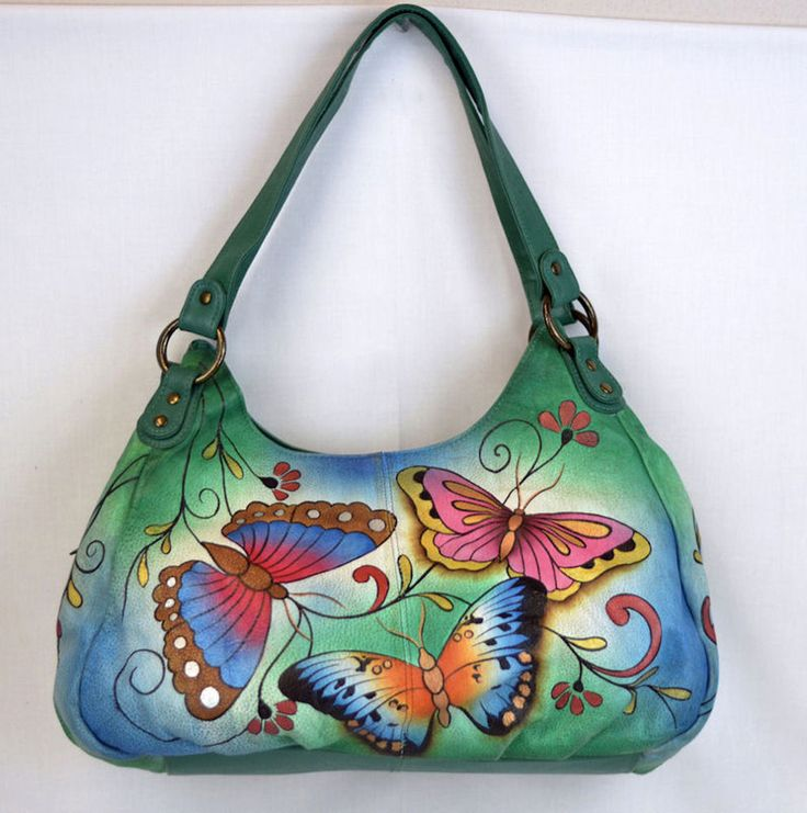 Anuschka Leather Hobo Handbag Purse Emerald Butterfly Lots Compartments