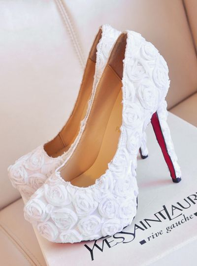 white wedding shoes ideas with rose details
