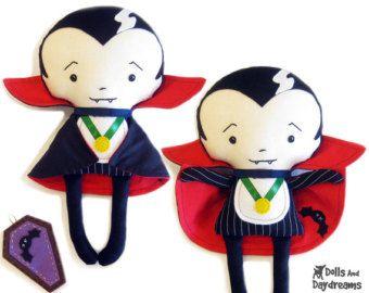 bat rag doll pattern | Vampire PDF Sewing Pattern Gothic Dracula Halloween - coffin and ...