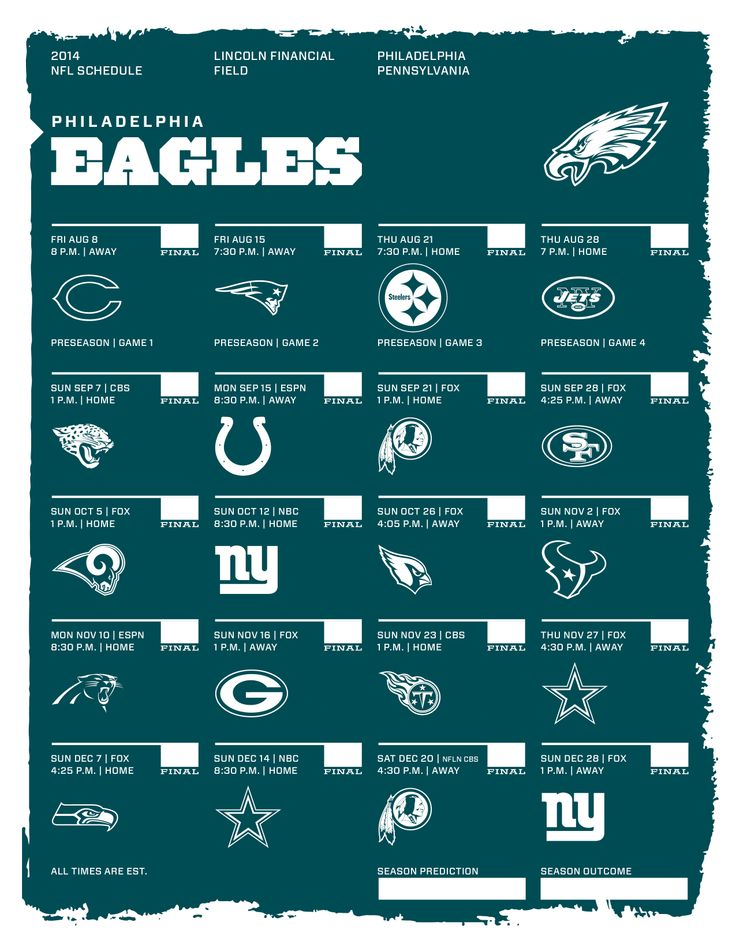 Philadelphia Eagles 2014 NFL Schedule | 2014 NFL Schedules ...