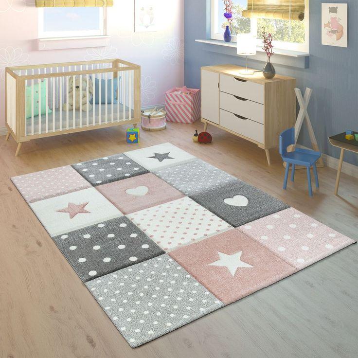 Kinderteppich Karo Herzen Sterne Rosa Grau Teppich Kinderzimmer Teppich Rosa Teppich
