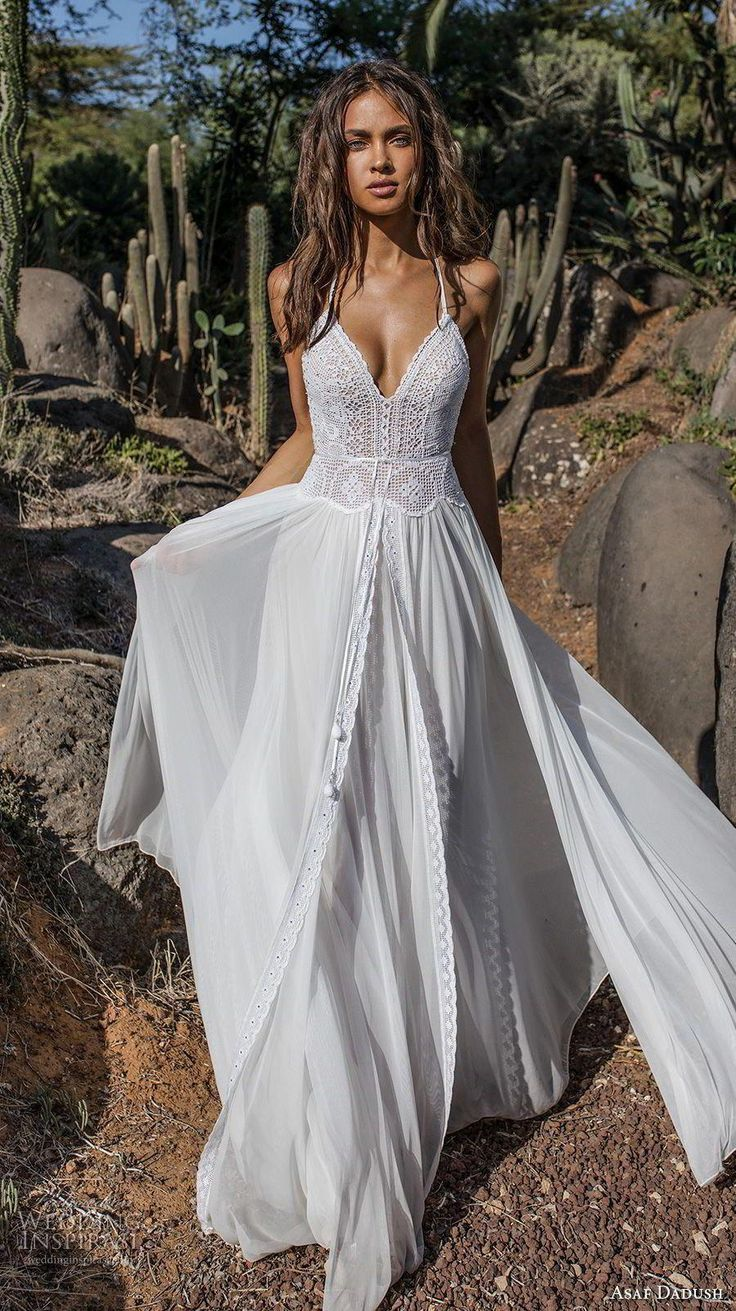 Lace V-neck Flared Backless Two Pieces Maxi Dress #weddingshower