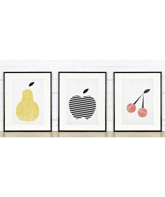 Fruit retro poster, kitchen art, apple, pear, cherry, minimalist design, A3 set, kitchen picture, art print, vintage poster, wall hanging