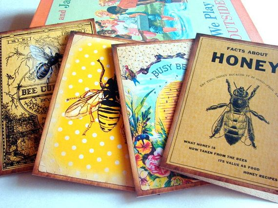 Bee Note Card Set  Vintage Book Cover Bee Culture by MimiAndLucy