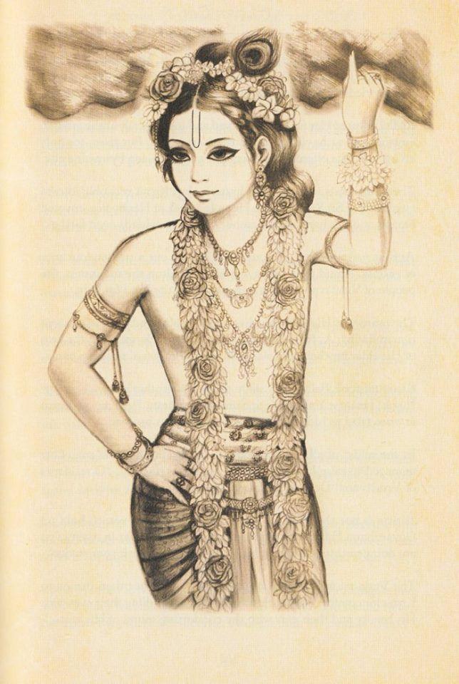 Krishna lifts Govardhan