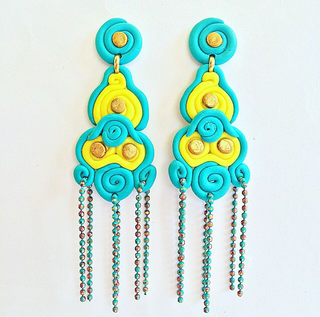 Handcrafted chandelier earrings in yellow turquoise