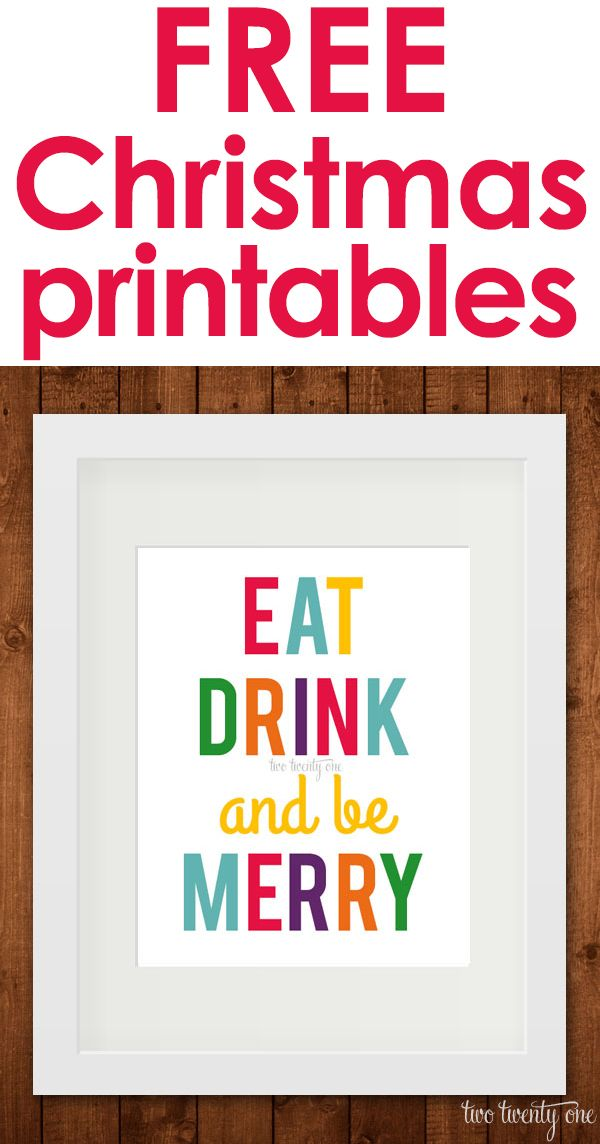 "FREE ""Eat Drink and be Merry"" Christmas printables! #holidayideaexchange"