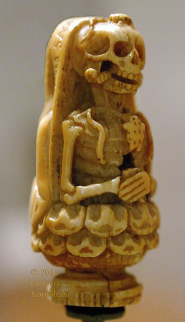 Death: Memento Mori bead poss. from a rosary, ivory, c.1500 France or Flanders