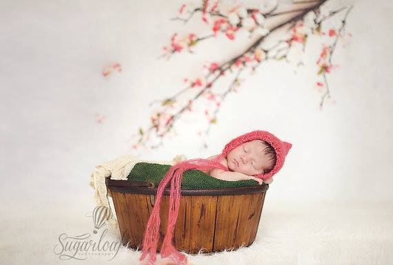 Baby girl photo prop bonnet  by Littlebit and Whimsy on Etsy