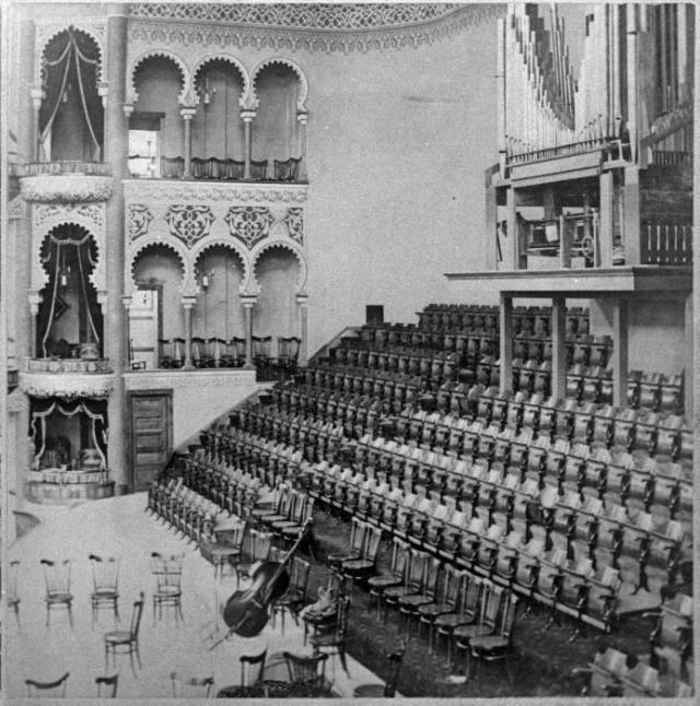 Interior shot of Massey Hall's Moorish design details, image c. 1894 courtesy of Toronto Reference Library
