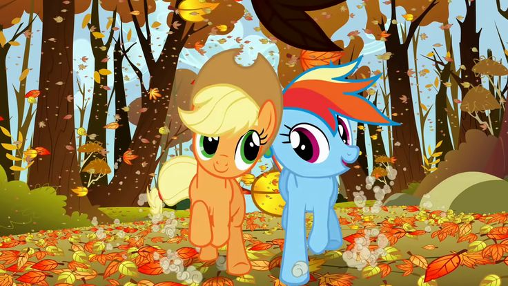 Applejack and Rainbow Dash happily racing fair
