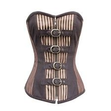 Gold Brown Striped Steampunk Corset