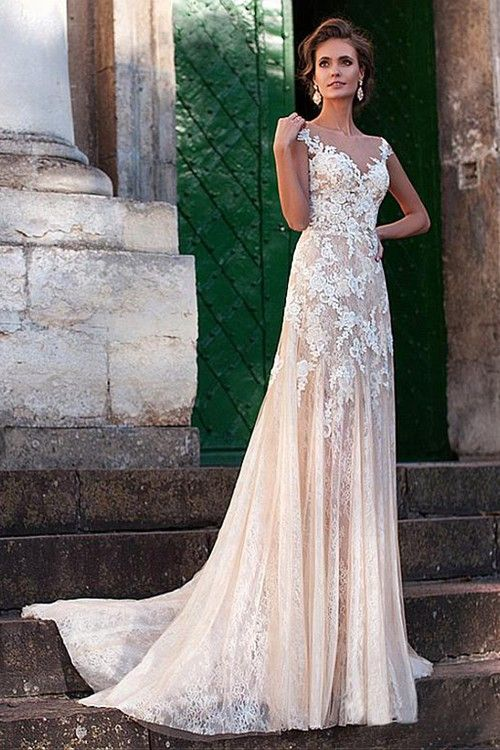 A-line V Neck Sweep Train Lace Bridal Gown