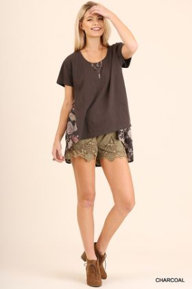 Floral High Low Tee, this top is business in the front and a fun floral pattern in the back!