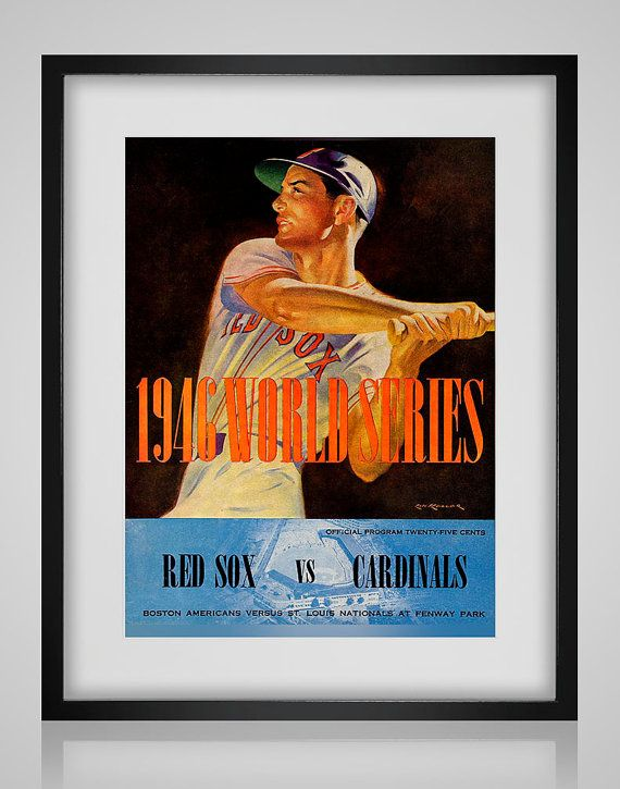 1946 Framed Vintage Boston Red Sox - St Louis Cardinals World Series Program Cover - Digital Reproduction