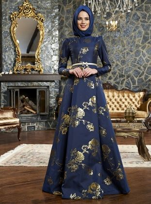 Rose Pattern Jacquard Evening Dress - Navy Blue - Mevra