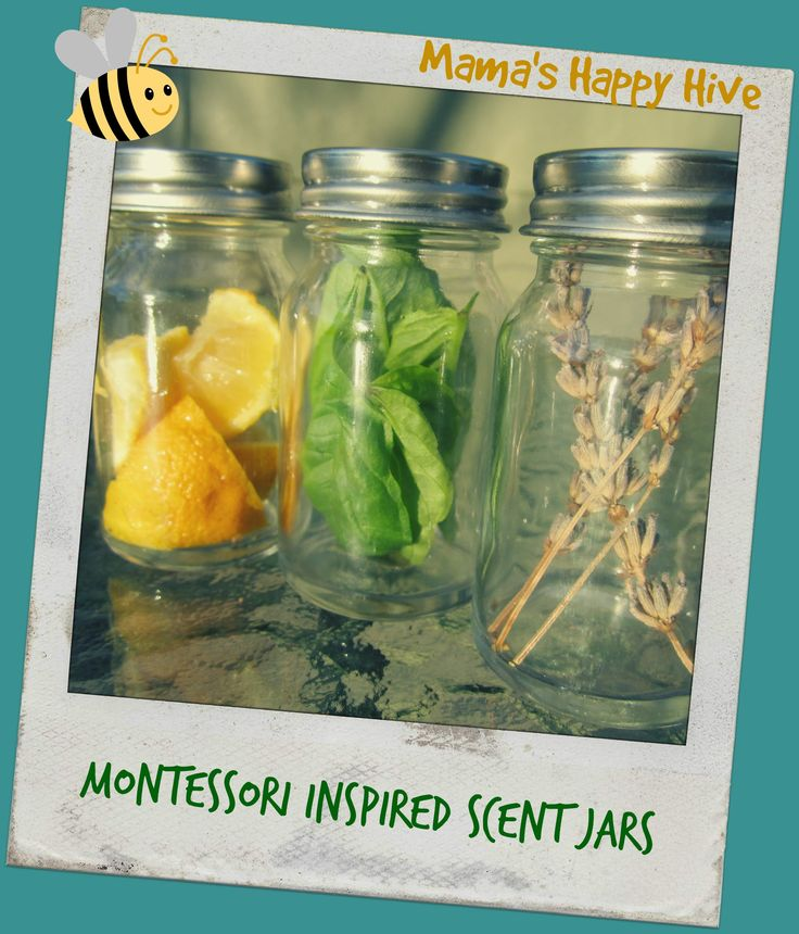 Via ANGELA @gardenangel2 Article: Introducing your toddler to garden scent using mason jars and items from your garden and food store. Montessori Inspired Scent Jars