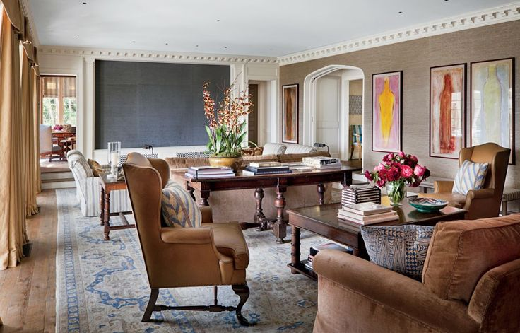 Traditional Media/Game Room by Michael S. Smith Inc. and Ferguson