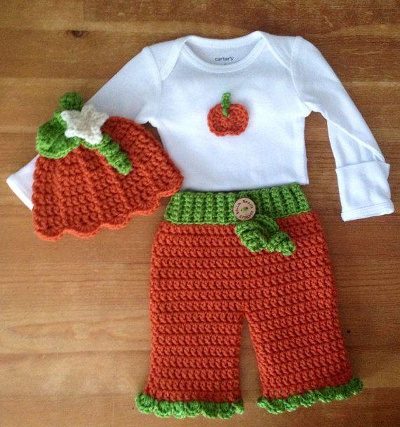 Crochet Newborn Girls Layette Pumpkin set, Newborn Fall Outfit, Newborn Gift set