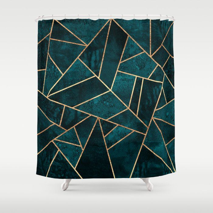 Buy Deep Teal Stone Shower Curtain By Elisabethfredriksson