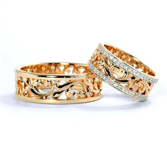 14k Gold wedding bands with floral ornament. Gold wedding bands.Unique wedding bands.Matching wedding bands.Couple rings. Wedding bands
