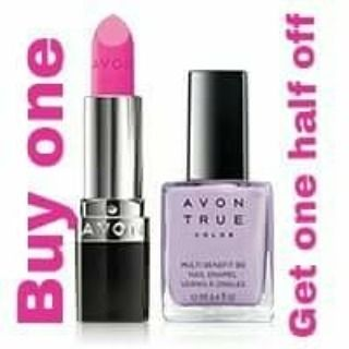 Select Avon True Color makeup is Buy one Get one 1/2 off!  I love the shades of lipstick and the nail polish dries fast and lasts for days.  I have no complaints about Avon products.  You should try them yourself!!  It's fun playing with all the different colors.  @wendys_avon #avon #makeup #lipstick #truecolor #projectrunway #sale