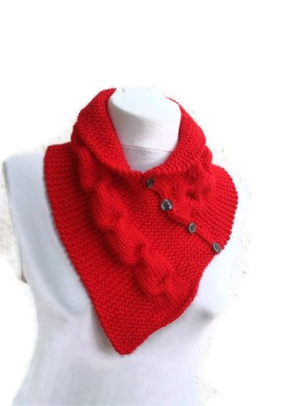 Red  neckwarmers with buttonChunky  Scarf fall by NesrinArt, $24.00