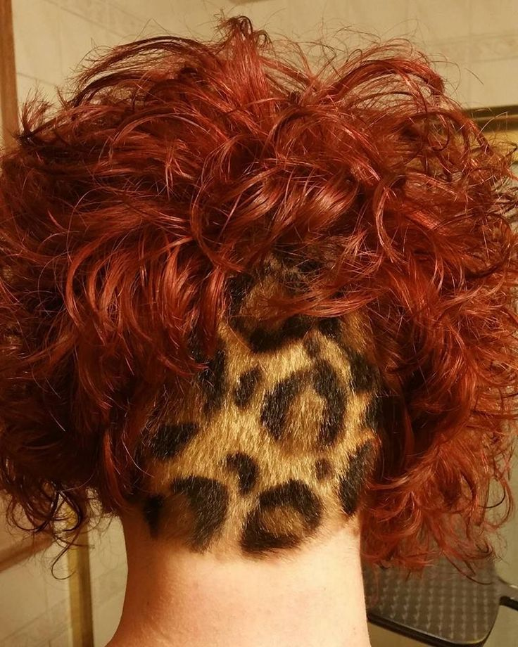 leopard print undercut hair