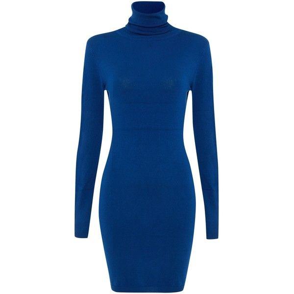 Silvian Heach Long Sleeved Polo Neck Knit Dress (€42) ❤ liked on Polyvore featuring dresses, blue, women, below the knee dresses, longsleeve dress, turtleneck top, blue long sleeve dress and below knee dresses