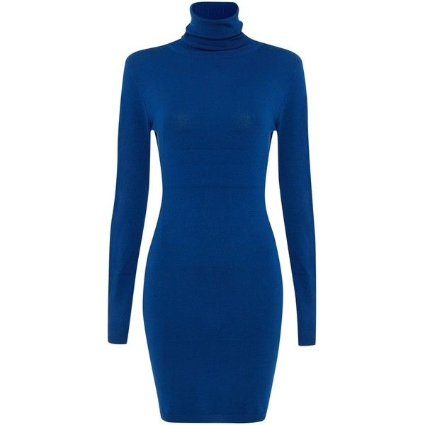 Silvian Heach Long Sleeved Polo Neck Knit Dress ($46) ❤ liked on Polyvore featuring dresses, blue, women, turtleneck top, long sleeve dress, below the knee dresses, long sleeve turtleneck top and blue long sleeve dress