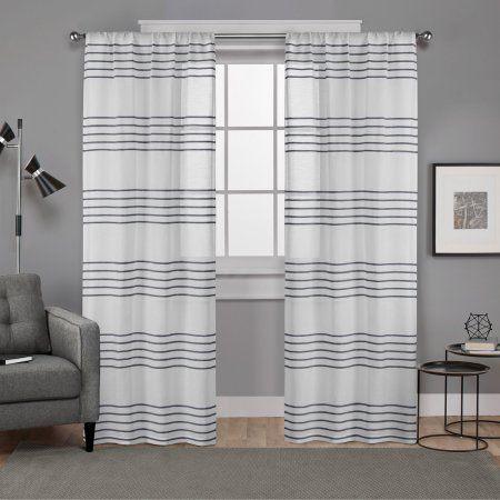 Exclusive Home Monet Sheer Linen Pleated Cabana Stripe Rod Pocket Window Curtain Panel Pair, Indigo, 54x96, Blue