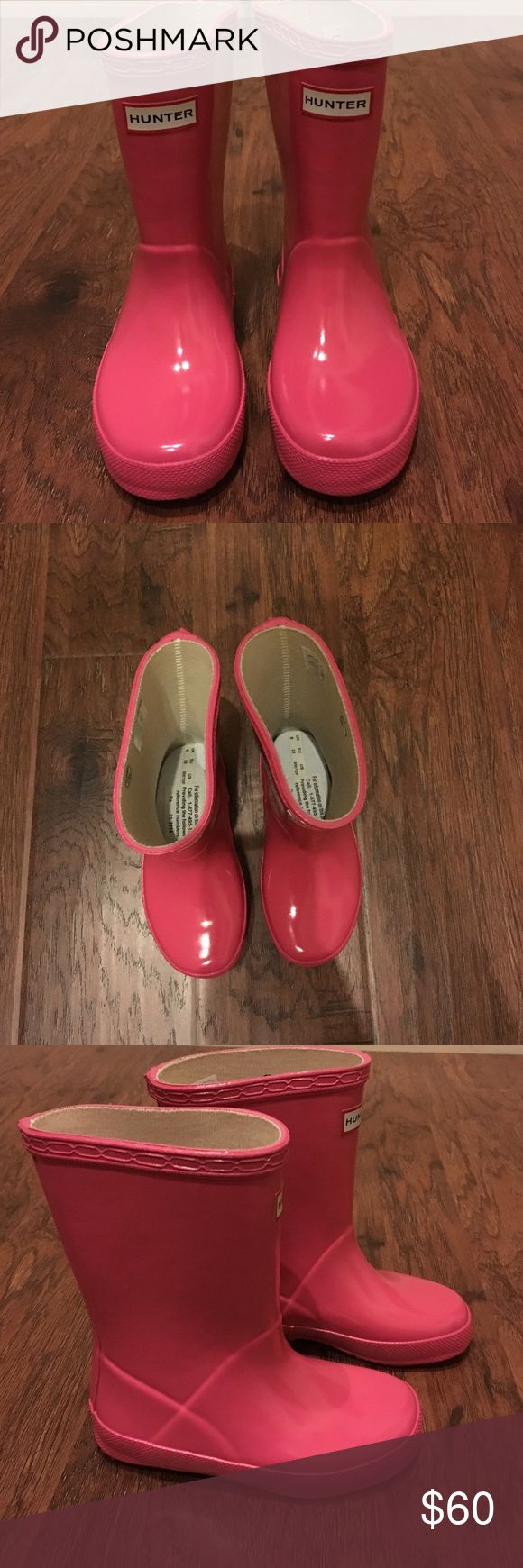 Brand New Hunter Kids Rain Boots Pink Hunter Rain Boots. Brand New. Never Worn. No flaws and stains. Roomy. Fits Size 9-11 toddler girl shoe sizes. Hunter Boots Shoes Rain & Snow Boots