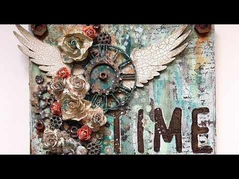 Time flies part 2 - mixed media canvas process video - YouTube