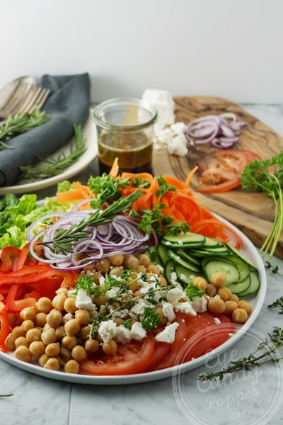 10 min chickpea and feta salad with Herbes de Provence and balsamic dressing.
